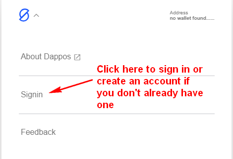 "Click on ""Signin"" to sign into your Dappos account or create a new one if you don't already have one"