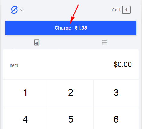 Click on the blue bar to charge the customer