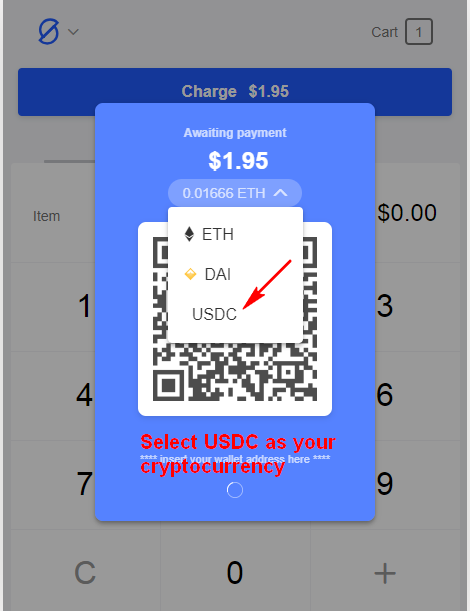 Select USDC as your cryptocurrency.
